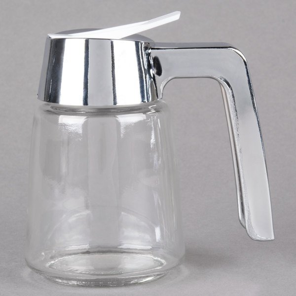 Tablecraft 1270 8 Oz Modern Glass Syrup Dispenser With Chrome Plated Abs Top