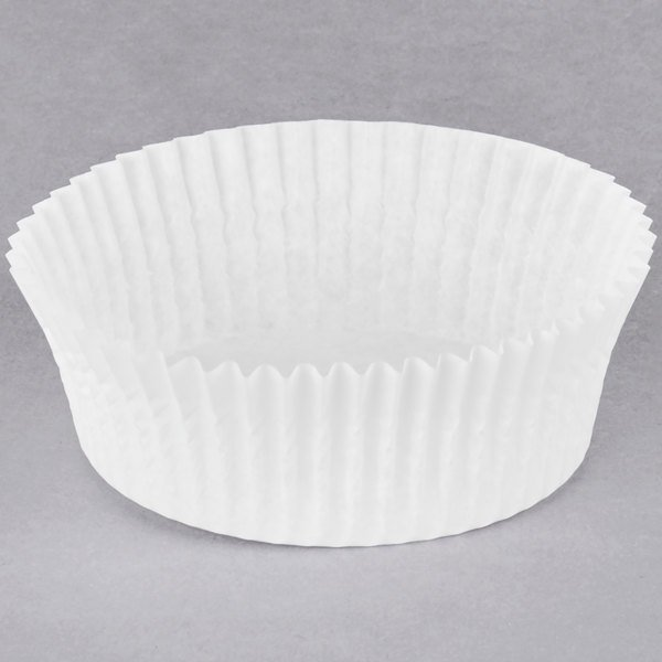 Hoffmaster 610061 3 inch x 1 1/4 inch White Fluted Baking Cup - 10000/Case