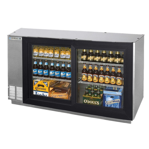 """Beverage Air BB58GS-1-S-LED-WINE 58"""" Stainless Steel Pass-Through Sliding Glass Door Back Bar Wine Refrigerator"""