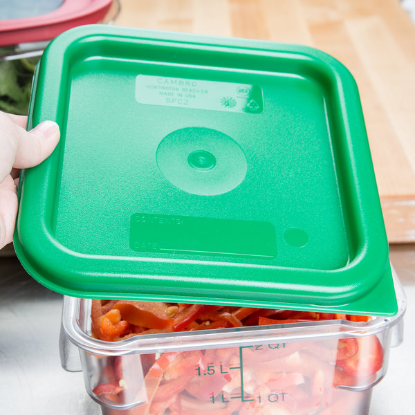 Cambro SFC2452 Kelly Green Square Polyethylene Lid for 2 and 4 Qt