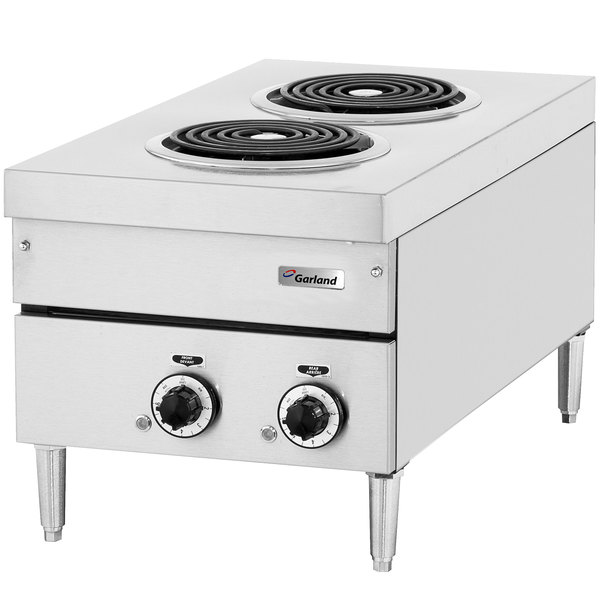 "Garland E24-12H 24"" Two Burner Heavy-Duty Electric Countertop Hot Plate - 240V, 3 Phase, 4.2 kW"