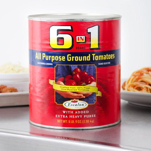Escalon 6 In 1 Brand #10 Can All Purpose Ground Tomatoes - 6/Case
