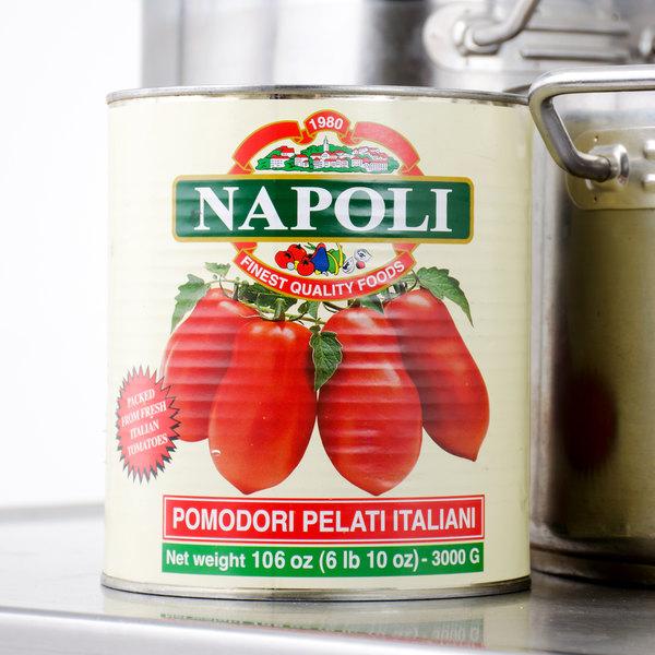 Napoli Foods #10 Canned Whole Peeled Italian Tomatoes - 6/Case Main Image 5