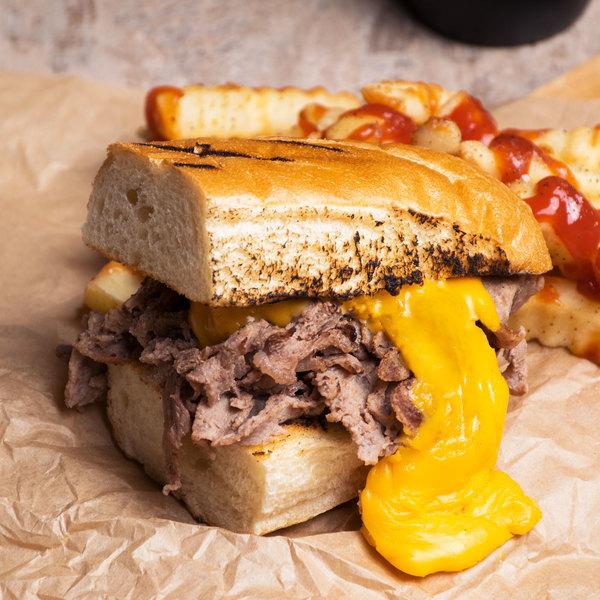 Levan Bros. 40-Count Case of 4 oz. Portions Classic Cut Seasoned Beef Steak Sandwich Slices - 10 lb.