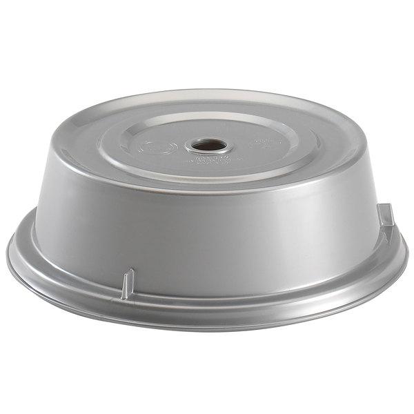 "Cambro 900CW486 Camwear Camcover 9 1/8"" Silver Metallic Plate Cover - 12/Case Main Image 1"