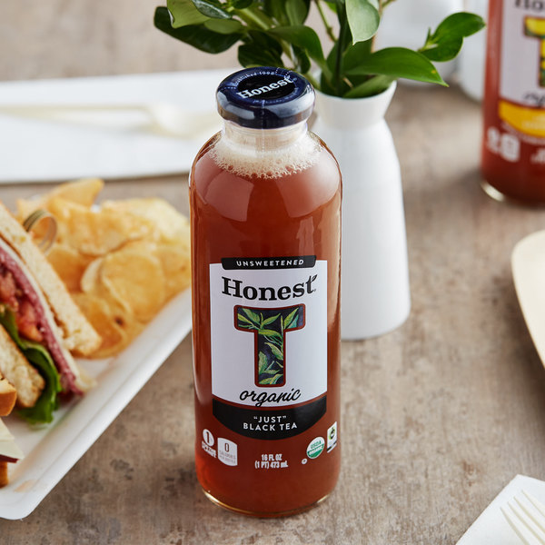 "Honest Tea 16 oz. Organic Unsweetened ""Just"" Black Iced Tea - 12/Case"
