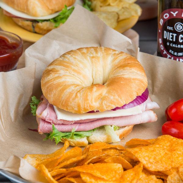"Hadley Farms 2.2 oz. 4"" Round Croissant Sandwich Bun - 144/Case Main Image 4"