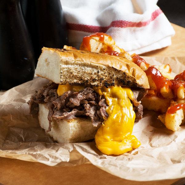 Levan Bros. 40-Count Case of 4 oz. Portions Lightly Seasoned Beef Steak Sandwich Slices - 10 lb. Main Image 4