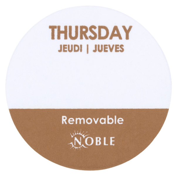 Noble Products Thursday Removable Day of the Week Dot Label 1 inch - 1000 / Roll