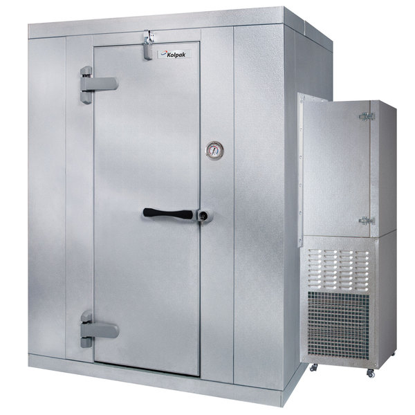 Left Hinged Door Kolpak PX6-088-CS Polar Pak 8' x 8' x 6' Floorless Indoor Walk-In Cooler with Side Mounted Refrigeration
