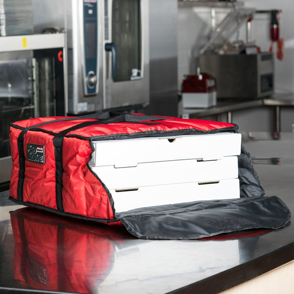 """Rubbermaid FG9F3600RED ProServe Medium Red Insulated Nylon Pizza Delivery Bag - 18"""" x 17 1/4"""" x 7 3/4"""" Main Image 11"""
