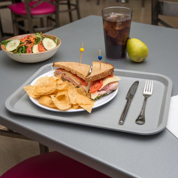 "Carlisle CT121623 Cafe 12"" x 16"" Gray Standard Plastic Fast Food Tray"