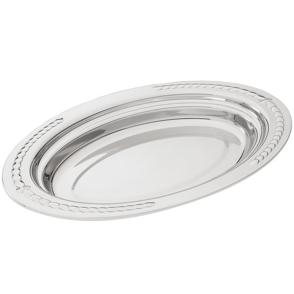 "Vollrath 8231420 Miramar® 3 Qt. Decorative Stainless Steel Oval Food Pan - 2"" Deep"