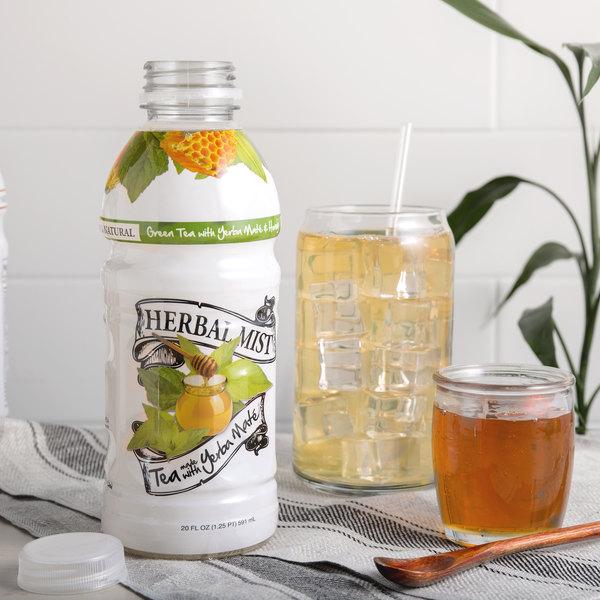 Herbal Mist 20 oz. Sweetened Green Tea with Honey and Yerba Mate - 12/Case