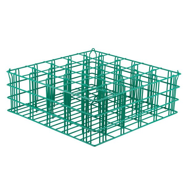 """25 Compartment Catering Glassware Basket - 3 1/2"""" x 3 1/2"""" x 3 3/8"""" Compartments"""