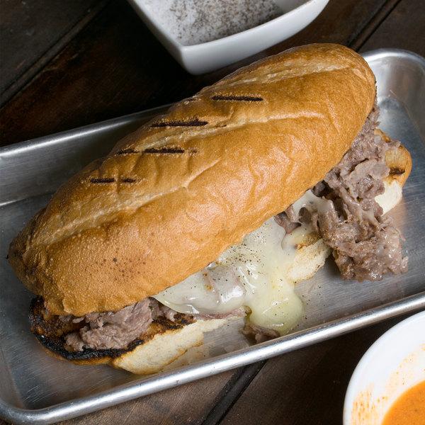 Levan Bros. 32-Count Case of 5 oz. Tender Cut Beef Steak Sandwich Slices - 10 lb.