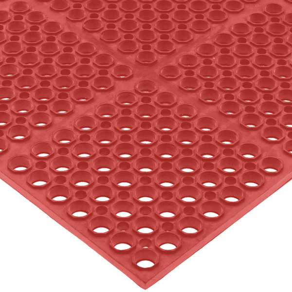 San Jamar KM2200B Tuf-Mat 3' x 5' Red Grease-Proof Bagged Floor Mat - 3/4 inch Thick