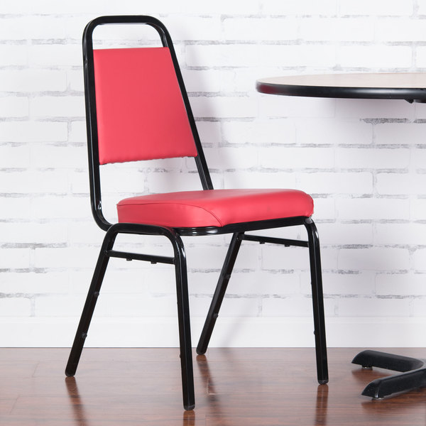 "Lancaster Table & Seating Red Stackable Chair with 2"" Padded Seat"