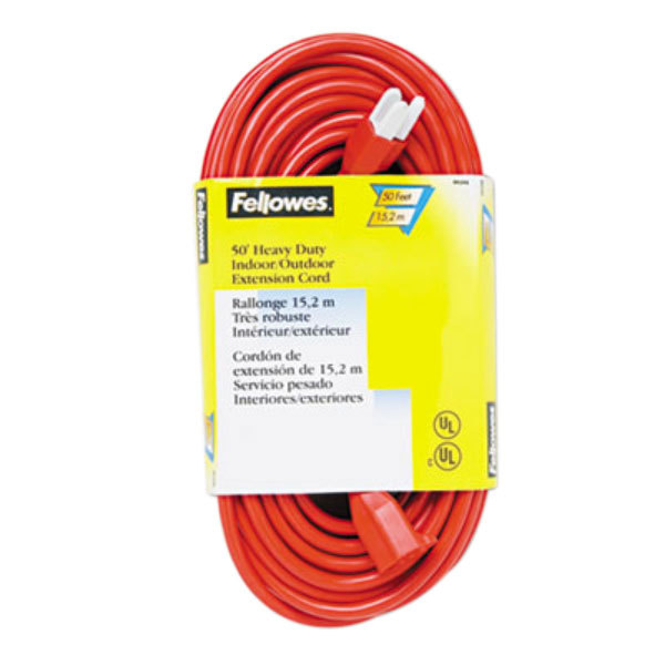 Fellowes 99598 50' Orange Heavy-Duty Indoor / Outdoor Extension Cord with 3-Prong Plug