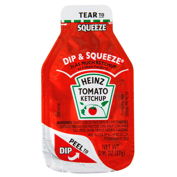 Heinz 0 95 oz  Dip & Squeeze Ketchup Packet - 300/Case