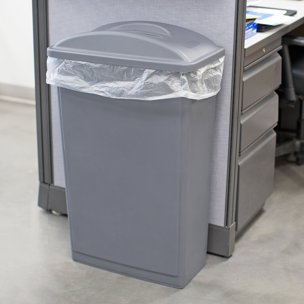 Lavex Janitorial 23 Gallon Gray Slim Rectangular Trash Can and Gray Flat Lid with Handle Main Image 3