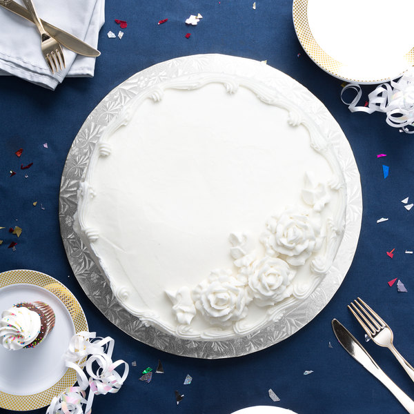 """Enjay 1/2-16RS12 16"""" Fold-Under 1/2"""" Thick Silver Round Cake Drum - 12/Case Main Image 3"""