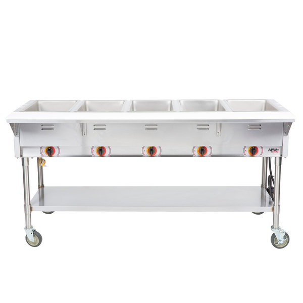 APW Wyott PST-5S Five Pan Exposed Portable Steam Table with Stainless Steel Legs and Undershelf - 2500W - Open Well, 240V Main Image 1