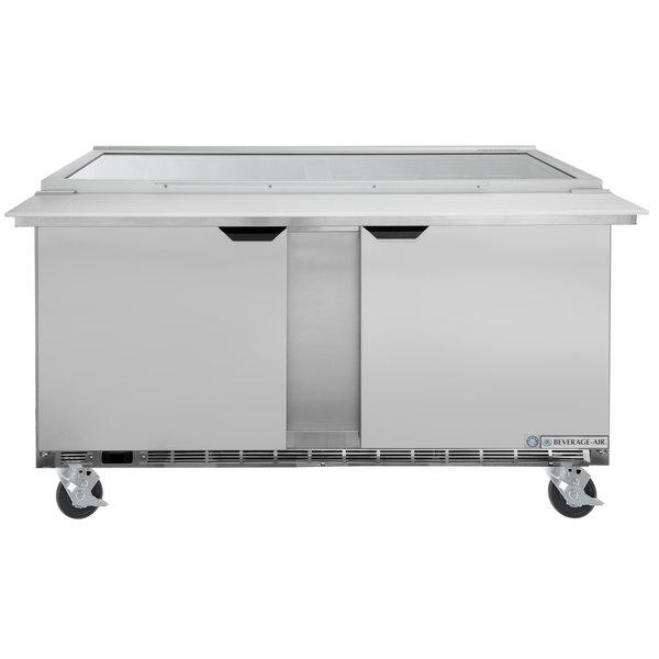 Beverage Air Spe60hc 24m Stl 60 2 Door Mega Top Gl Lid Refrigerated Sandwich Prep Table