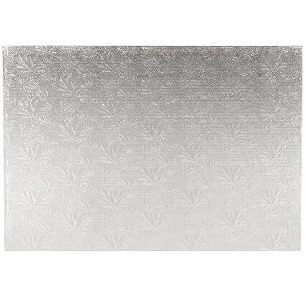 "Enjay 1/4-17122512S12 25 1/2"" x 17 1/2"" Fold-Under 1/4"" Thick Full Sheet Silver Cake Board - 12/Case Main Image 1"