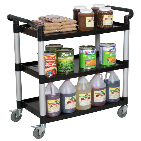"40 1/2"" x 19 3/4"" x 37 7/8"" Black Three Shelf Utility Cart / Bus Cart"