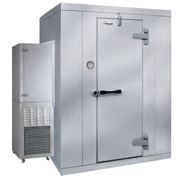 Right Hinged Door Kolpak P7-088-CS Polar Pak 8' x 8' x 7' Indoor Walk-In Cooler with Side Mounted Refrigeration