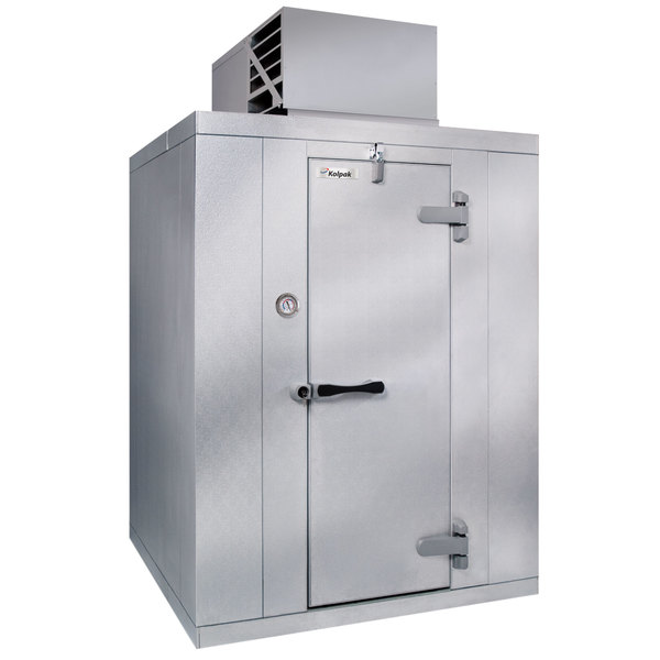 Right Hinged Door Kolpak P6-066CT-OA Polar Pak 6' x 6' x 6' Outdoor Walk-In Cooler with Top Mounted Refrigeration