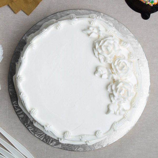 """Enjay 1/4-12RS24 12"""" Fold-Under 1/4"""" Thick Silver Round Cake Drum - 24/Case Main Image 5"""