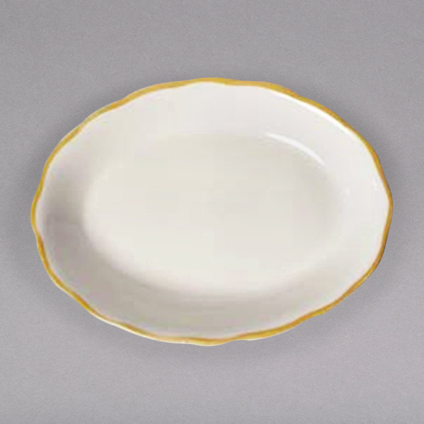 """9 5/8"""" x 7 1/8"""" Ivory (American White) Scalloped Edge China Platter with Gold Band - 24/Case"""