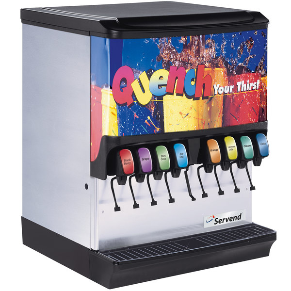 Servend 2706089 SV-250 10 Valve Sanitary Lever Countertop Ice/Beverage Dispenser with 250 lb. Ice Storage and Internal Carbonator Main Image 1