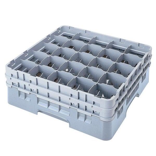 "Cambro 25S738151 Camrack 7 3/4"" High Customizable Gray 25 Compartment Glass Rack"