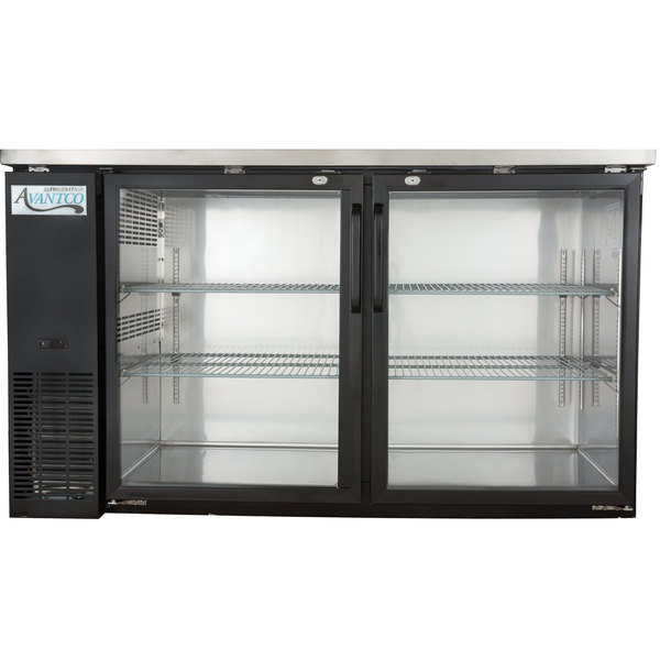 "Avantco UBB-24-60G 60"" Narrow Glass Door Back Bar Cooler Stainless Steel Top and LED Lighting"