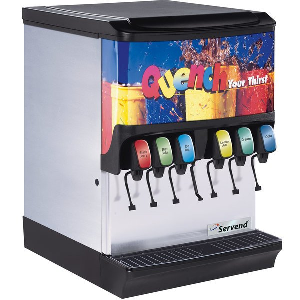 Servend 2706071 SV-150 6 Valve Sanitary Lever Countertop Ice/Beverage Dispenser with 150 lb. Ice Storage and Internal Carbonator Main Image 1