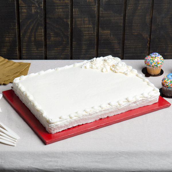 """Enjay 1/2-13341834RED12 18 3/4"""" x 13 3/4"""" Fold-Under 1/2"""" Thick Half Sheet Red Cake Board - 12/Case"""
