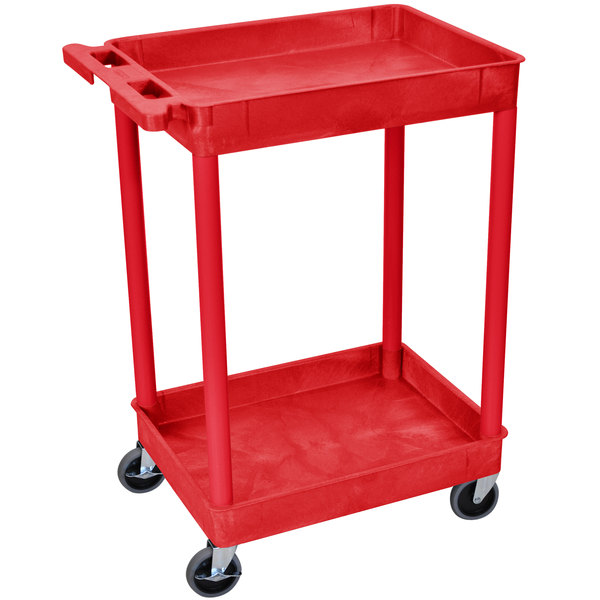 "Luxor RDSTC11RD Red 2 Tub Utility Cart - 18"" x 24"" x 37 1/2"""