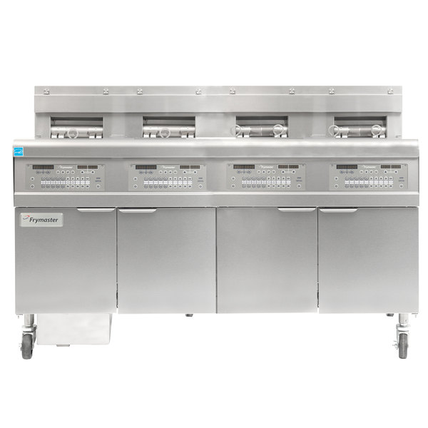 Frymaster FPGL430-4RCA Natural Gas Floor Fryer with Two Full Left Frypots / Two Right Split Pots and Automatic Top Off - 300,000 BTU