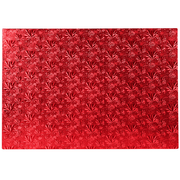 """Enjay 1/2-17122512RED12 25 1/2"""" x 17 1/2"""" Fold-Under 1/2"""" Thick Full Sheet Red Cake Board - 12/Case Main Image 1"""