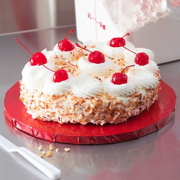 """Enjay 1/2-10RRED12 10"""" Fold-Under 1/2"""" Thick Red Round Cake Drum - 12/Case Main Image 5"""