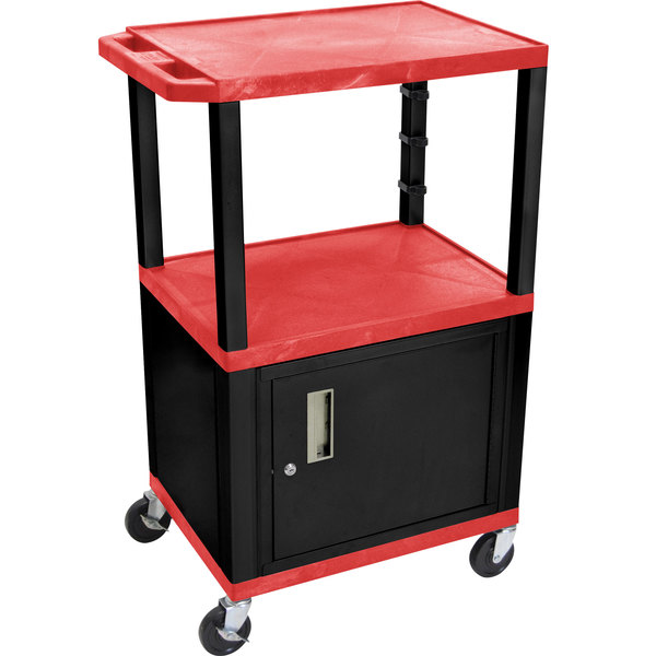 """Luxor WT2642RC2E-B Red Tuffy Two Shelf Adjustable Height A/V Cart with Locking Cabinet - 18"""" x 24"""" Main Image 1"""