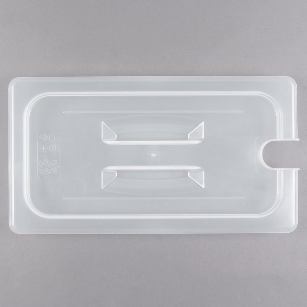 Cambro 30PPCHN190 1/3 Size Translucent Polypropylene Handled Lid with Spoon Notch