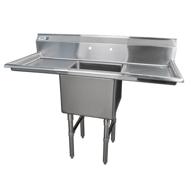 """Regency 54"""" 16-Gauge Stainless Steel One Compartment Commercial Sink with 2 Drainboards - 18"""" x 18"""" x 14"""" Bowl"""