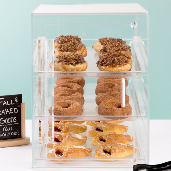 "Cal-Mil 241-S Classic Three Tier Acrylic Display Case with Front and Rear Doors - 13 1/2"" x 22"" x 21"" Main Image 7"