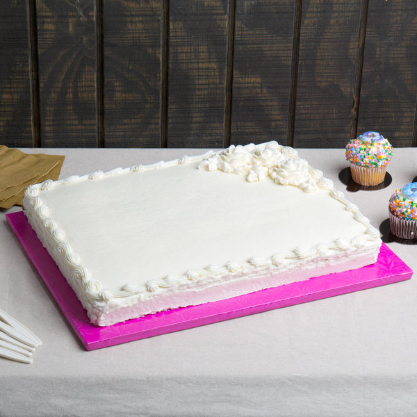 "Enjay 1/2-13341834PINK12 18 3/4"" x 13 3/4"" Fold-Under 1/2"" Thick Half Sheet Pink Cake Board - 12/Case"