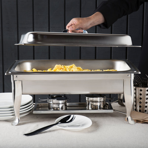 Choice 8 Qt. Folding Chafer with Stainless Steel Cover and Handle Main Image 6