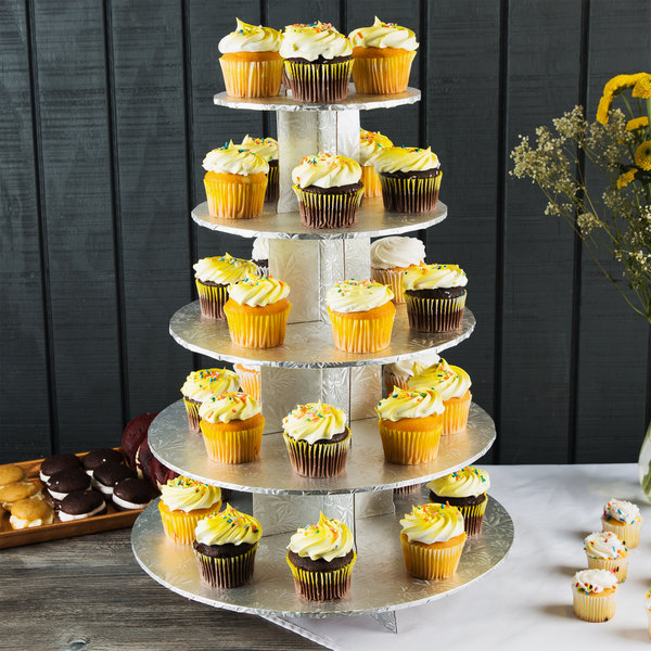 Enjay CS-5T-SILVER 5-Tier Disposable Silver Cupcake Treat Stand - 6/Case Main Image 6